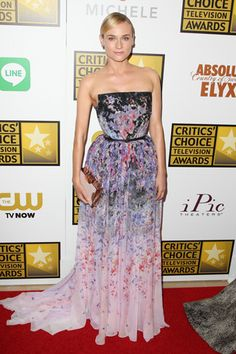 Diane Kruger opted for a floral Elie Saab Spring '14 Haute Couture gown belted at the waist for the Critics' Choice Television Awards in Beverly Hills.