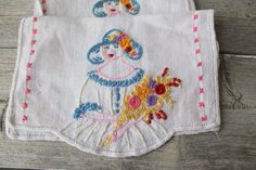 2 Hand Embroidered table scarves Victorian by WillowCreekSparrow