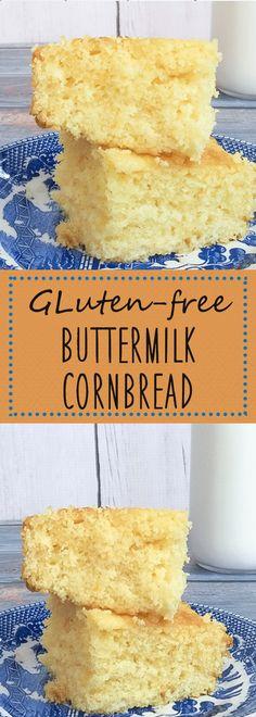 Easy Cornbread Recipe, Moist Cornbread, Buttermilk Cornbread, Gluten Free Cornbread, Gluten Free Biscuits, Homemade Cornbread, Buttermilk Recipes, Gluten Free Recipes, Celiac