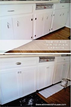 EB Loves Old Houses & How to Add Trim to Old Cabinets & spruce up those old, flat cabinets with this easy DIY trim Kitchen& The post Kitchen Cabinets Makeover Old Kitchen Cabinets, Diy Cabinets, Kitchen Redo, Bathroom Cabinets, Kitchen Furniture, Kitchen Ideas, Design Kitchen, Furniture Stores, Open Kitchen