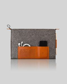 Retro wool felt and leather case for MacBook 13' by OSTFOLD, $95.00