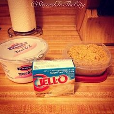 You'll need:  1 16oz tub of Fage 0% Plain Greek yogurt,  1 small (1oz) box of Sugar-Free Jell-O pudding, Graham Cracker crumbs (1 tbsp per serving).  You can use any flavor Jell-O; the only flavors I can attest to are Cheesecake, Vanilla, Banana, Lemon, White Chocolate (add mini chips!) and those are excellent. I also saved a few bucks by buying a graham cracker pie crust and crumbling it myself - more than enough for this dessert.