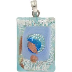 Murano Glass Lampwork Rectangle Pendant 30x20 Aqua Aventurina