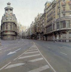 Antonio López (Tomelloso, Ciudad Real 1936)  Calle de Madrid. Meticulosamente captado cada elemento y como incide la luz.