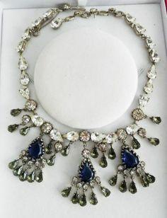 Christian Dior 1950 Mitchel Maer Blue Dark Peridot Necklace Earrings | eBay