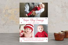 """""""Baby's First Christmas"""" - Holiday Birth Announcements in christmas classic by Sara Hicks Malone."""