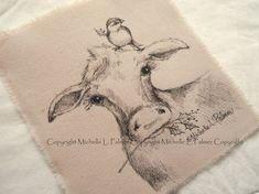 Larger Size Original Pen Ink on Fabric Illustration Quilt Label by Michelle Palmer Barn Holstein Cow Calf Sparrow Bird Holly Christmas Farm Christmas Farm, Holly Christmas, Christmas Picks, Vintage Christmas, Painting Patterns, Fabric Painting, Fabric Art, Holstein Cows, Sparrow Bird