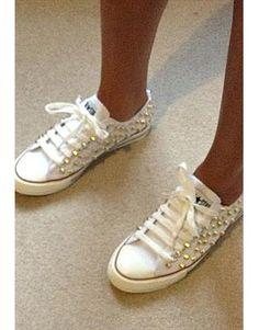 Gold Studded Converse All star ox low White canvas handmade