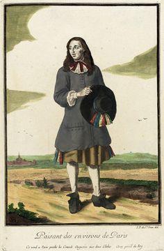 """1678-1693 French Fashion plate """"Recueil des modes de la cour de France, 'Paisant des Environs de Paris'"""" at the Los Angeles County Museum of Art, Los Angeles"""