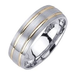 Beverly Diamonds White And Yellow Gold MENS 14K 2 TONE WEDDING BAND