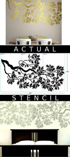 Oak Branch Stencil Window Bars, Glass Engraving, Stencil Patterns, My Furniture, Furnitures, Stencils, Flora, Stamps, Garage