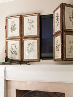 Hide & Seek TV Screen - Blue Egg Brown Nest has built a Hide & Seek TV Screen. Put the TV above the fireplace, but did not want to see it. She refinished individual frames, found vintage postcards and had  husband fasten them together to create a screen to open & close.