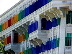 MICA (Ministry of Information, Communications and Art) Building in Singapore. I love those colourful shutters.