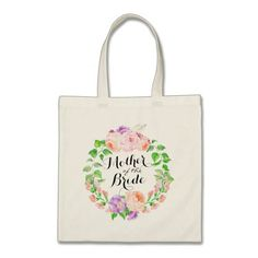 Chic Watercolor Floral Wreath Mother of the Bride Tote Bag