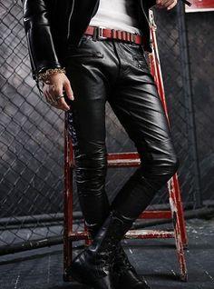 New-Mens-Fashion-Rock-Faux-Leather-Slim-Fit-Casual-Dance-Pants-Trousers-Black