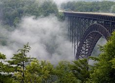 Fog Covers the New RIver Gorge Bridge in by BrendanReals on Etsy, $45.00