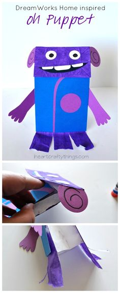 DreamWorks Home inspired Oh Puppet Kids Craft (with free pattern printable) from iheartcraftythings.com.