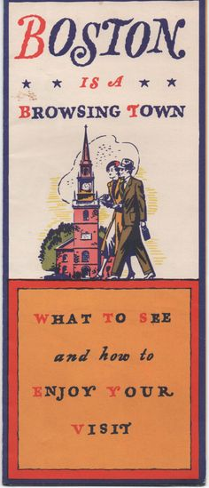 c1930s Advertising Brochure for Boston, Massachusetts, very colorful, good shape by VintageNEJunk on Etsy