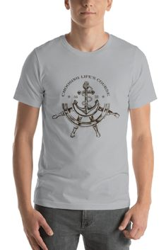 Compass Decor Childrens Short Sleeve Cool T-Shirt,Polyester,Drawing of a Sailin