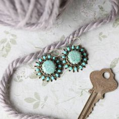 """Taste for Turquoise Indie Earrings"" #Ruche"