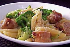 Sonoma Farm Penna With Broccoli Sausage and Garlic Olive Recipe Broccoli Sausage Recipe, Pork Sausage Recipes, Broccoli Recipes, Vegetable Recipes, Salad Recipes, Broccoli Pasta, Chicken Broccoli, Italian Pasta, Italian Dishes