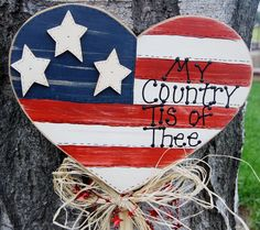 Patriotic Flag in Heart Shape - Wood Yard Stick - Sign - of July Decoration Americana Crafts, Patriotic Crafts, July Crafts, Holiday Crafts, Patriotic Party, Country Crafts, Primitive Crafts, Happy 4 Of July, Fourth Of July