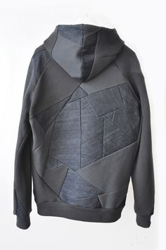 style 2: back denim patchwork hooded sweat