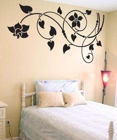Simple Wall Paintings, Creative Wall Painting, Creative Wall Decor, Wall Painting Decor, Wall Stickers Home Decor, Vinyl Wall Decals, Wall Paint Patterns, Bedroom Wall Designs, Wall Drawing