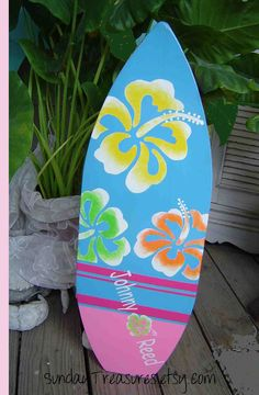 27 inch Surfboard. Wall art Beach Sign Surf Hawaiian PERSONALIZED. Matches PBK Lahaina Bedding. Pink Yellow Home Decor 150 Designs 3 sz.. $139.00, via Etsy.