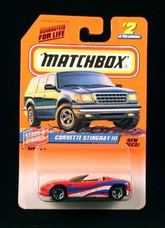 CORVETTE STINGRAY III * RED/WHITE/BLUE * Stars & Stripes Series 1 MATCHBOX 1998 Basic Die-Cast Vehicle (#2 of 75) by Mattel. $1.99. CORVETTE STINGRAY III * RED/WHITE/BLUE * Stars & Stripes Series 1 MATCHBOX 1998 Basic Die-Cast Vehicle (#2 of 75). ORIGINALLY RELEASED IN 1998 - RETIRED / OUT OF PRODUCTION. From Mattel. Vehicle measures approximately 3 inches long.. Ages 3+. MATCHBOX® Car Collection: Contemporary, classic Matchbox® die-cast vehicle that offer gr...