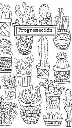 cactus and succulents Perfect doodles for you bullet journal or planner Nature doodles Plant drawings Doodle Drawings, Easy Drawings, Doodle Art, Colouring Pages, Adult Coloring Pages, Coloring Books, Doodle Coloring, Cactus Drawing, Plant Drawing