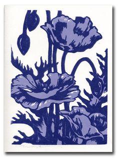 Poppy Toile Handmade Block Print Note Card. $4.75, via Etsy.