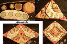 Kaleidoscopic cane Tutorial by Amatista.  I love how simple elements can combine to make a much more complex design.  This is a great cane - love the colors and design.