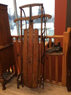 Antique flexible flyer sled. Excellent condition and still boasts the original flyer decal.   Ibon Antiques Find your treasures here 10423 79 Avenue NW in Edmonton's Old Strathcona neighbourhood.