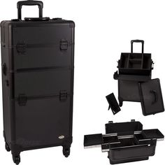 31.25 inch 360 Degree Rotating 4 Wheel Rolling Professional Black Dot Aluminum 4 Easy Sliding Extendable Trays Studio Cosmetic Beauty Makeup Artist Travel Supply Styling Organizer Tote Holder Storage Train Case Cart Trolley   Removable Case   Adjustable Dividers   Removable Mirror   Telescoping handle -- You can find out more details at the link of the image. (Note:Amazon affiliate link)