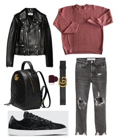 """Fall outfit #1"" by karinstyleonly on Polyvore featuring Yves Saint Laurent, NIKE, Gucci and Essie"