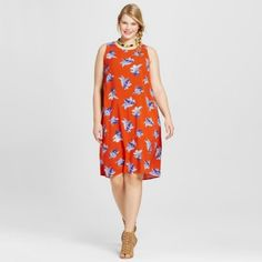 Ava & Viv 3x Orange Floral Swing Dress Nwot