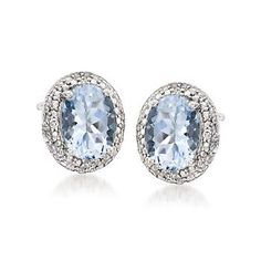 1.75 ct. t.w. Aquamarine Earrings With Diamonds in Sterling Silver