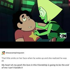 steven universe, peridot and steven, this was so adorable, i was like happy gasping during this part of the episode.