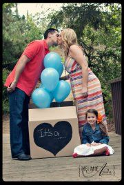 Gender Reveal - add weight at bottom of ballons so they don't fly away.