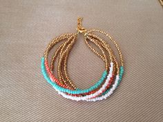 Mint and coral beaded bracelet mint and coral by Emmiemaeboutique, $8.50