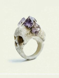 Two-faced skull with amethyst points