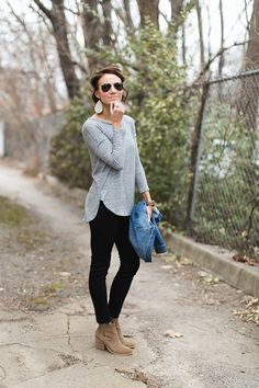 Casual Basics including ankle boots, black pants, denim jacket, gray tee