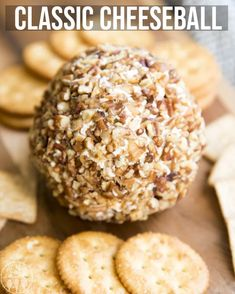 This classic cheese ball is the perfect appetizer for the holidays! It's packed full of flavor and perfect served with your favorite crackers or sliced vegetables. I love eating a delicious cheese ball at a Holiday Appetizers, Yummy Appetizers, Appetizer Recipes, Holiday Recipes, Fruit Recipes, Easter Recipes, Holiday Treats, Christmas Recipes, Gastronomia