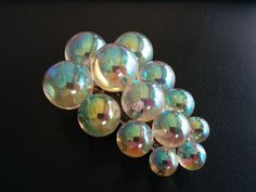 Vintage Brooch Dress Clip Clear Iridescent Lucite Bead Bubble Cluster 3119