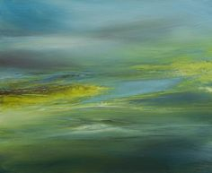 OUTREVERT (Painting),  73x60 cm par B ALEXIS 20F - Huile sur toile. L'épaule des terres jaunes s'exclame aux heures du ciel des éclats de sel d'encres vertes engorgées d'horizon