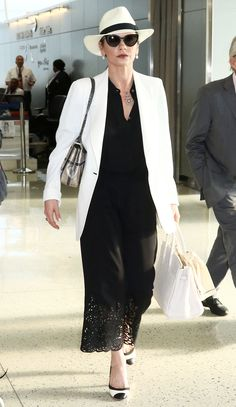 Catherine Zeta-Jones Shows Off Her Sophisticated Airport Style from InStyle.com