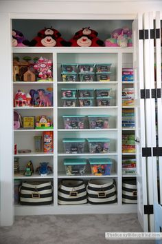 Game Room Closet/Toy Organization - organized toys and games
