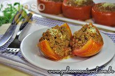 Os Tomates Recheados com Carne são deliciosos, requintados, tentadores e muito fáceis de fazer. Bora fazer para o #jantar!  #Receita aqui: http://www.gulosoesaudavel.com.br/2013/04/24/tomates-recheados-com-carne/