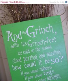 Thanksgiving Sale Grinch,Fun, Expressive Word Canvas, wall decor,Christmas and Holiday, Dr.Seuss wall art. $36.00, via Etsy.